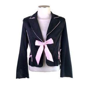 Arden B black cotton blazer w pink tie NWT size 6